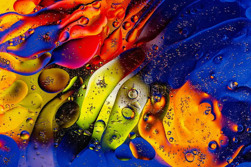 Beautiful close up view blue, red, orange, black, yellow colorful abstract design, texture. stock photography