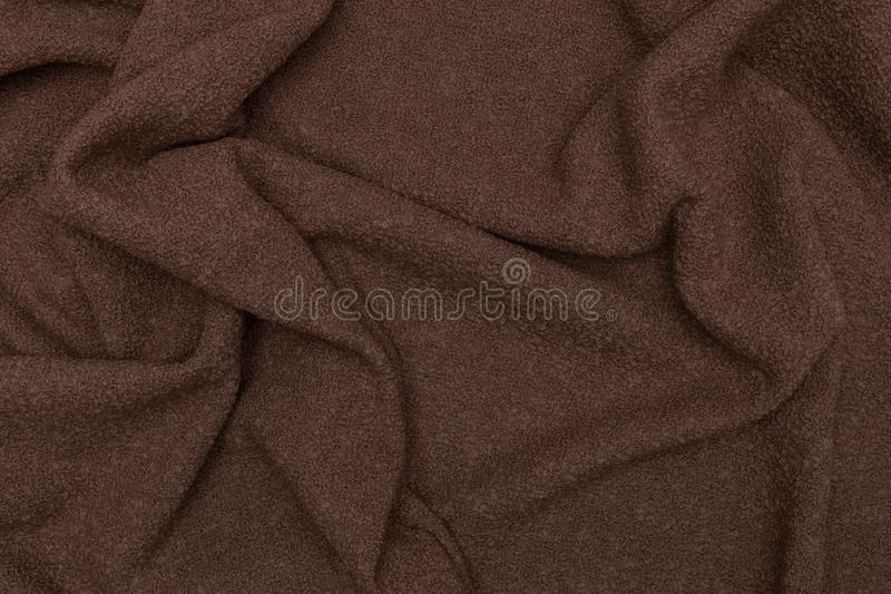 Beautiful closeup of brown towel with textile texture background stock photography