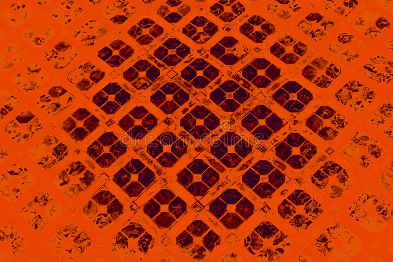 Beautiful closeup textures abstract tiles and color yellow gold orange blue and gay glass pattern wall background and art wallpape stock image