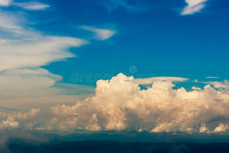 Beautiful cloud with blue sky over the hill. stock images