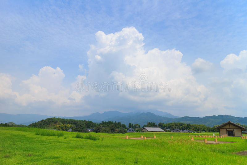 Beautiful cloud formation around Kikuchi Castle. View around kikuchi castle in Kikuchi castle, Kumamoto, Japan stock image