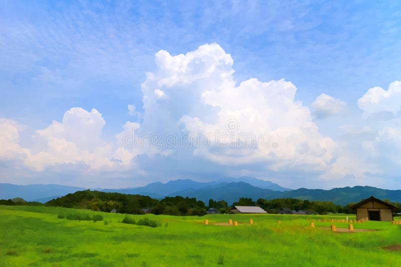 Beautiful cloud formation with green royalty free stock photo