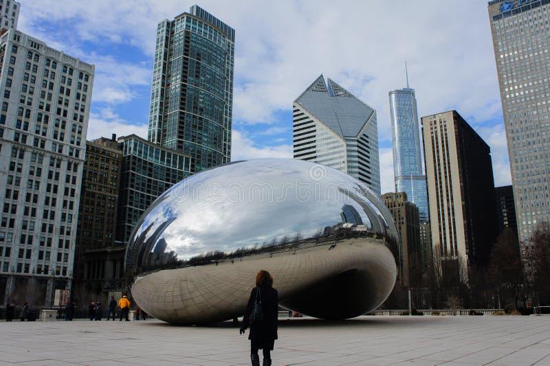 The beautiful Cloud Gate at Millennium Park, Chicago, Illinois stock images