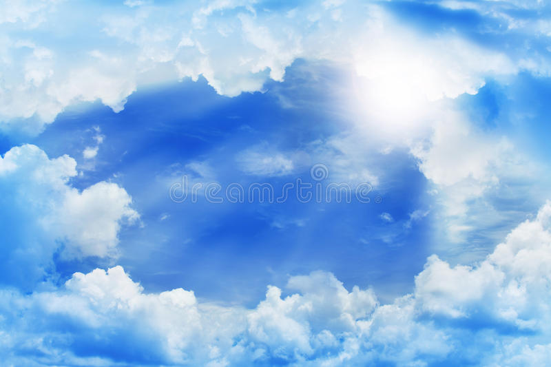 Beautiful clouds. Frame of beautiful clouds with blue sky and sun beam royalty free stock image