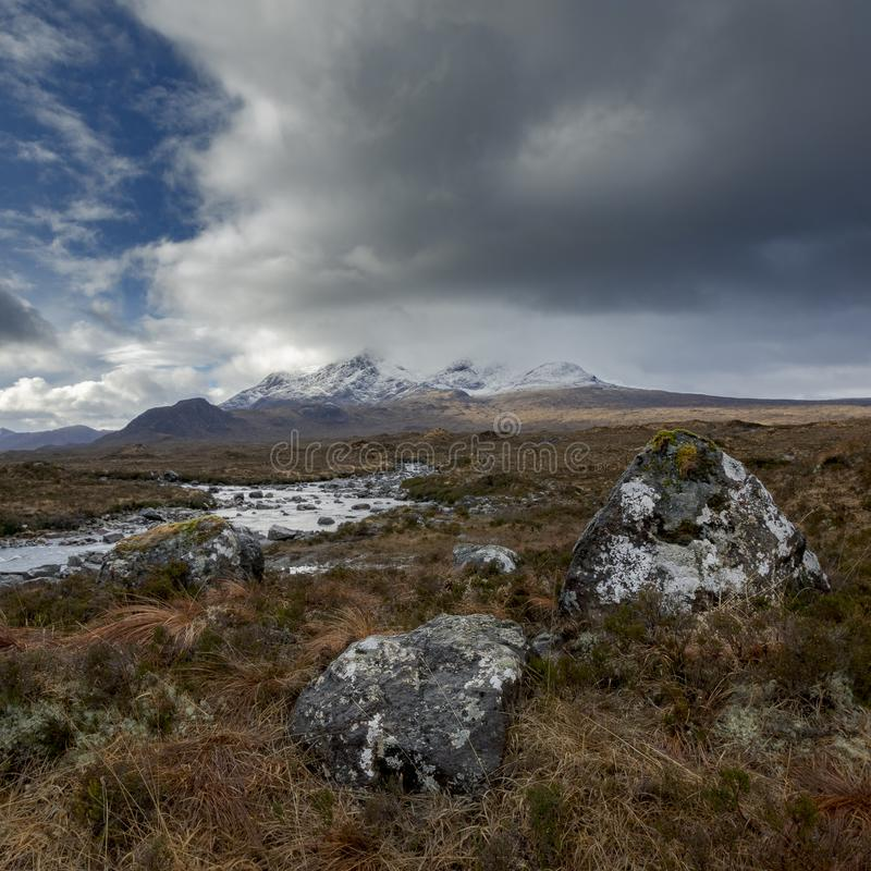 Beautiful clouds above Scottish mountains and river stock photography
