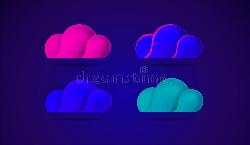 Beautiful clouds abstract colorful vector icons illustration. Great for mobile game applications design vector illustration