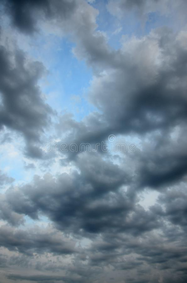 Beautiful clouds with blue sky background. Nature weather stock photography