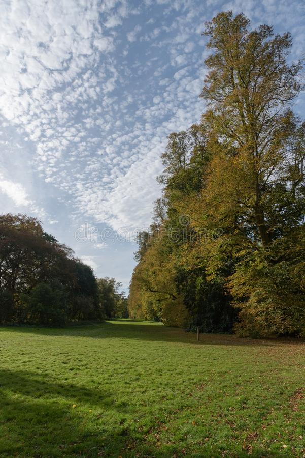 Beautiful clouds contrast with autumn colours at Nowton Park stock image