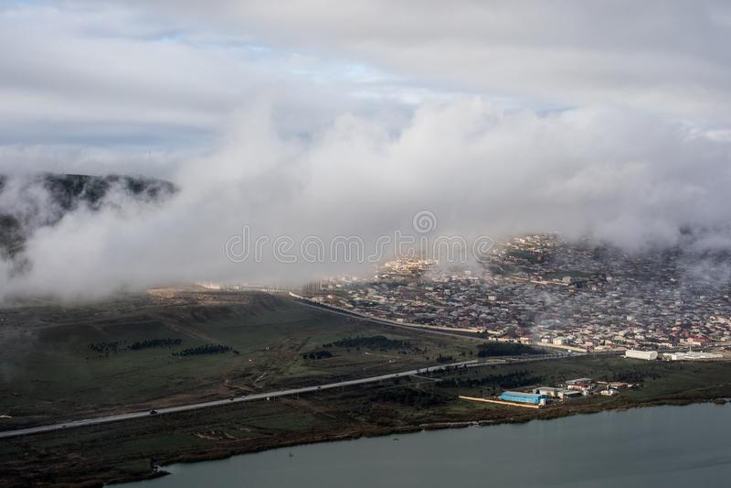 Morning fog in the mountain in Baku. Azerbaijan. Near Xojasan Lake stock photography