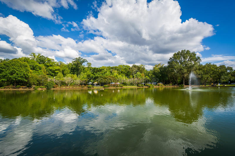Beautiful clouds over the lake at Freedom Park, in Charlotte, No. Rth Carolina stock images