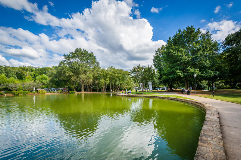 Beautiful clouds over the lake at Freedom Park, in Charlotte, No. Rth Carolina stock photo