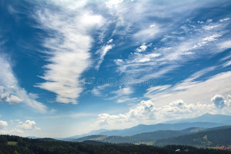 Beautiful clouds over the mountains. Summer landscape. Ukrainian Carpathians stock photos