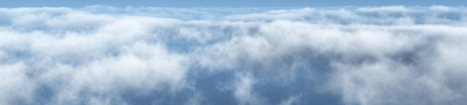 Beautiful clouds, panorama of clouds. Above the clouds, clouds from above, flying above the clouds stock image