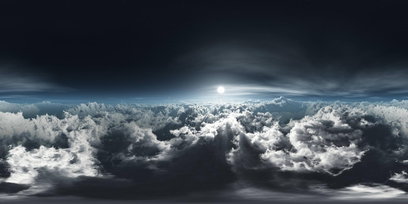 Beautiful clouds, panorama of clouds, HDRI, environment map. Beautiful clouds, panorama of clouds, above the clouds, clouds from above, flying above the clouds royalty free stock images