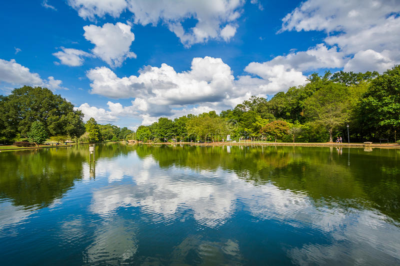 Beautiful clouds reflecting in the lake at Freedom Park, in Char. Lotte, North Carolina stock image