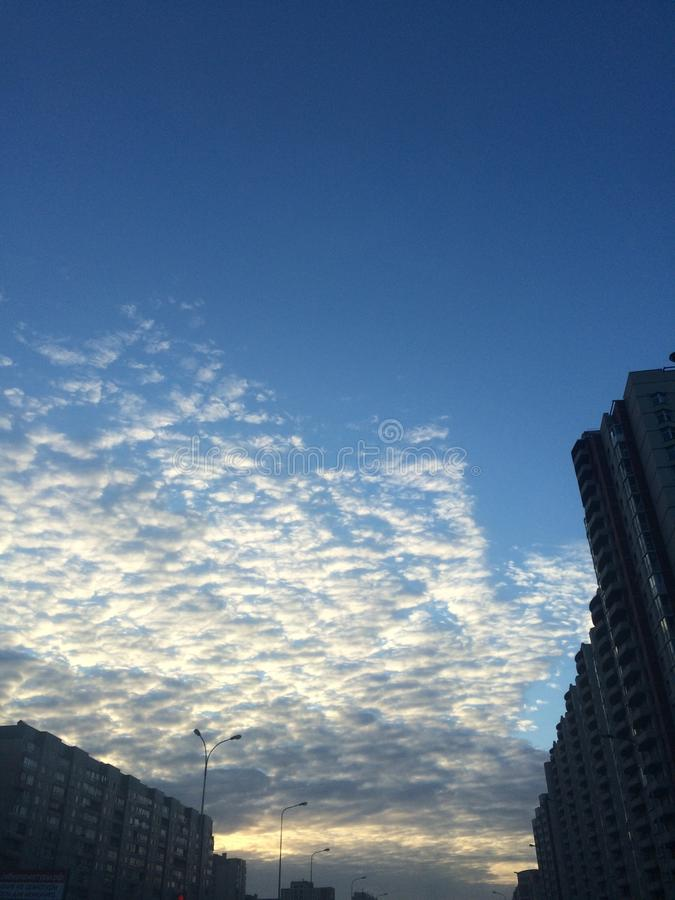 Beautiful clouds in the setting sun royalty free stock images