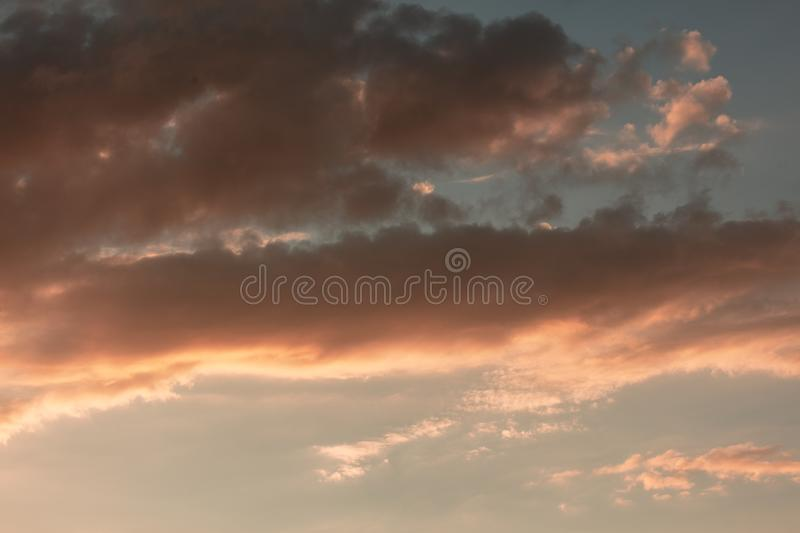 Beautiful clouds in the sky at sunset royalty free stock photos