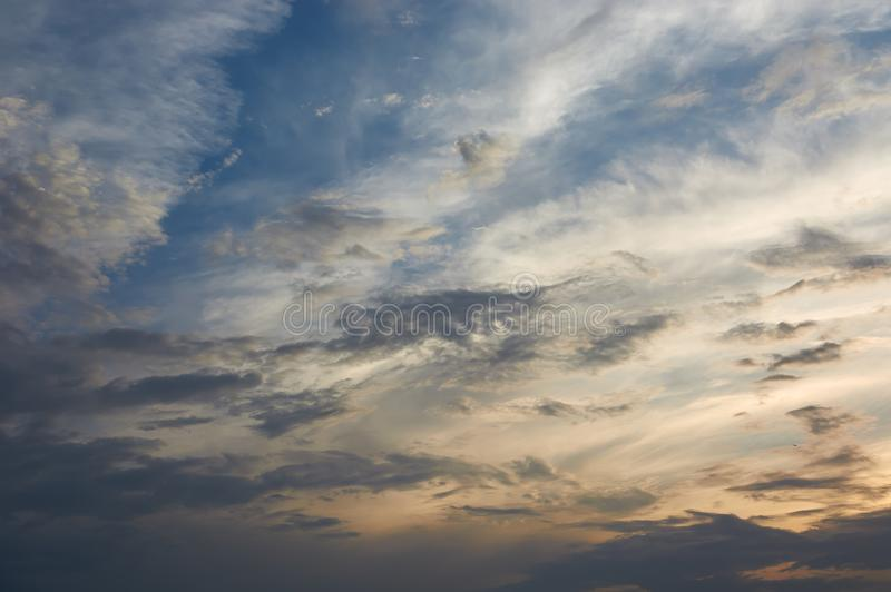 Beautiful clouds in the sky at sunset.  royalty free stock images