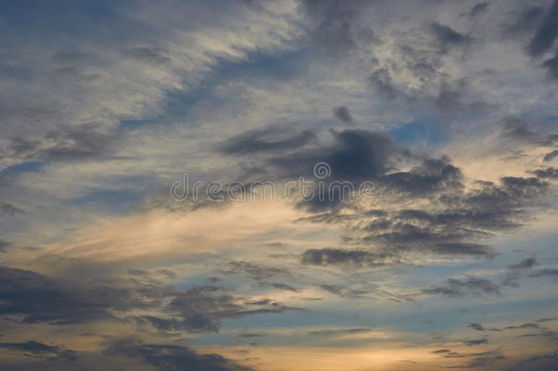 Beautiful clouds in the sky at sunset.  stock images