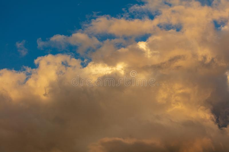 Beautiful clouds in the sky at sunset royalty free stock images