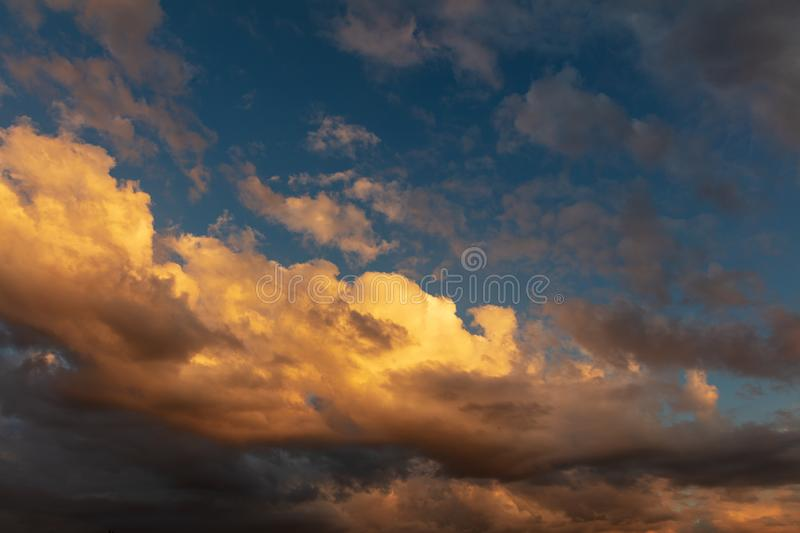 Beautiful clouds in the sky at sunset stock photos