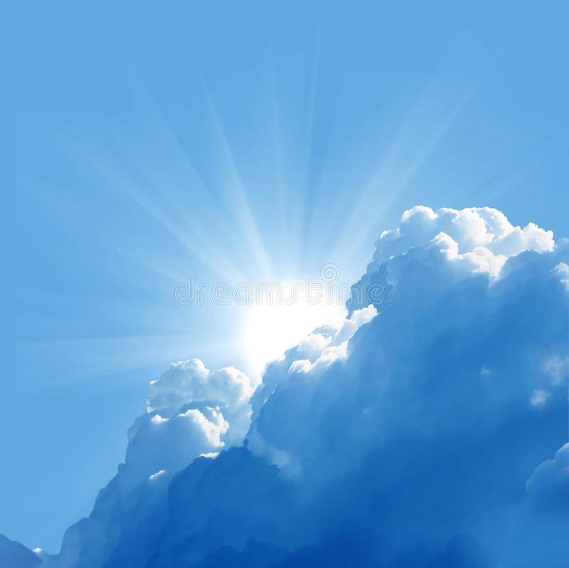 Beautiful clouds and sun. Blue sky with sun and beautiful clouds stock image