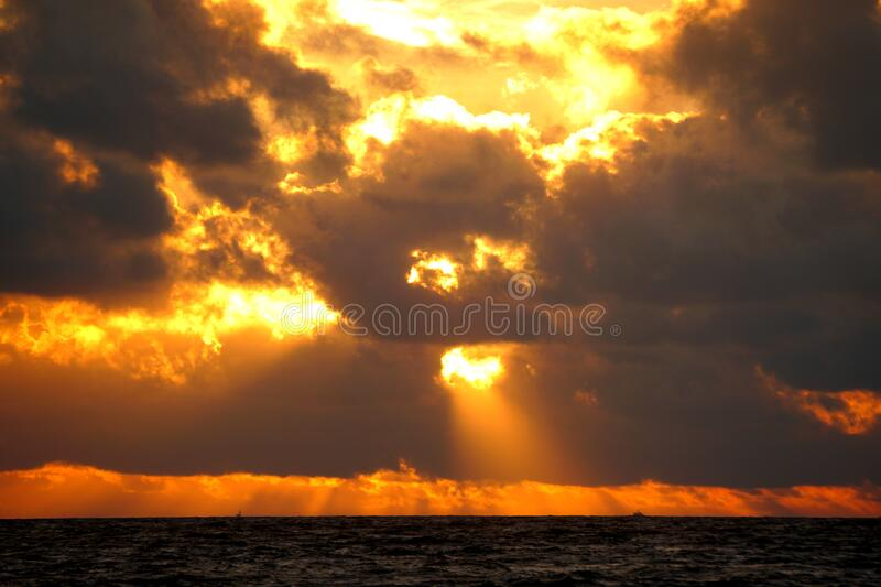Beautiful clouds during sunrise at Fort Lauderdale Beach, Florida, U.S.A royalty free stock photography
