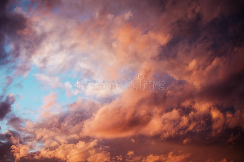 Beautiful clouds at sunset royalty free stock photography