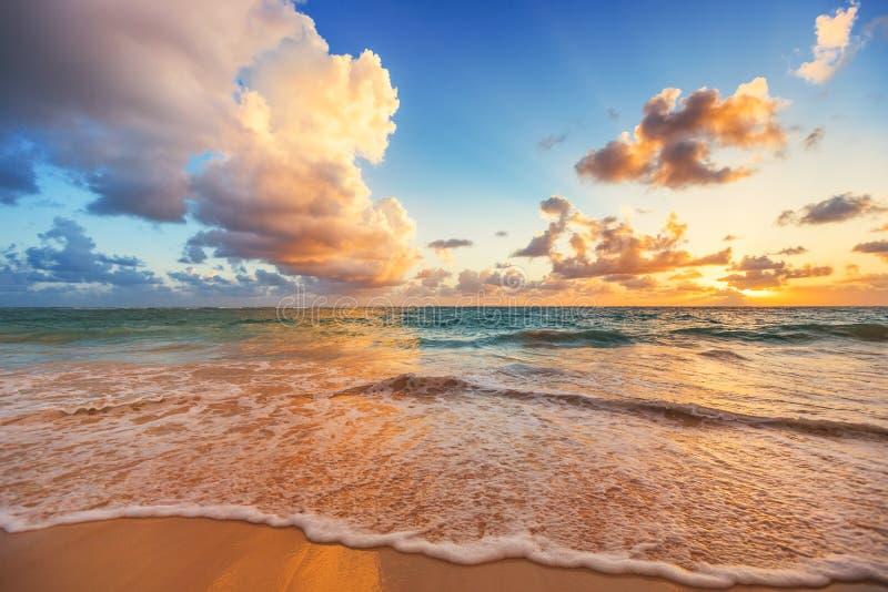 Beautiful cloudscape over Caribbean sea, sunrise shot. Sunrise and beautiful cloudscape over Caribbean sea stock photo