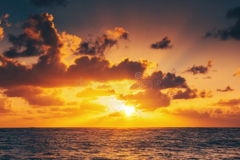 Beautiful sunrise over the sea stock photos