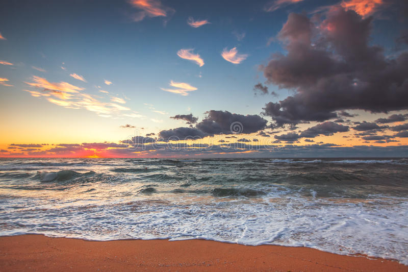 Beautiful cloudscape over the sea, sunset shot stock photography