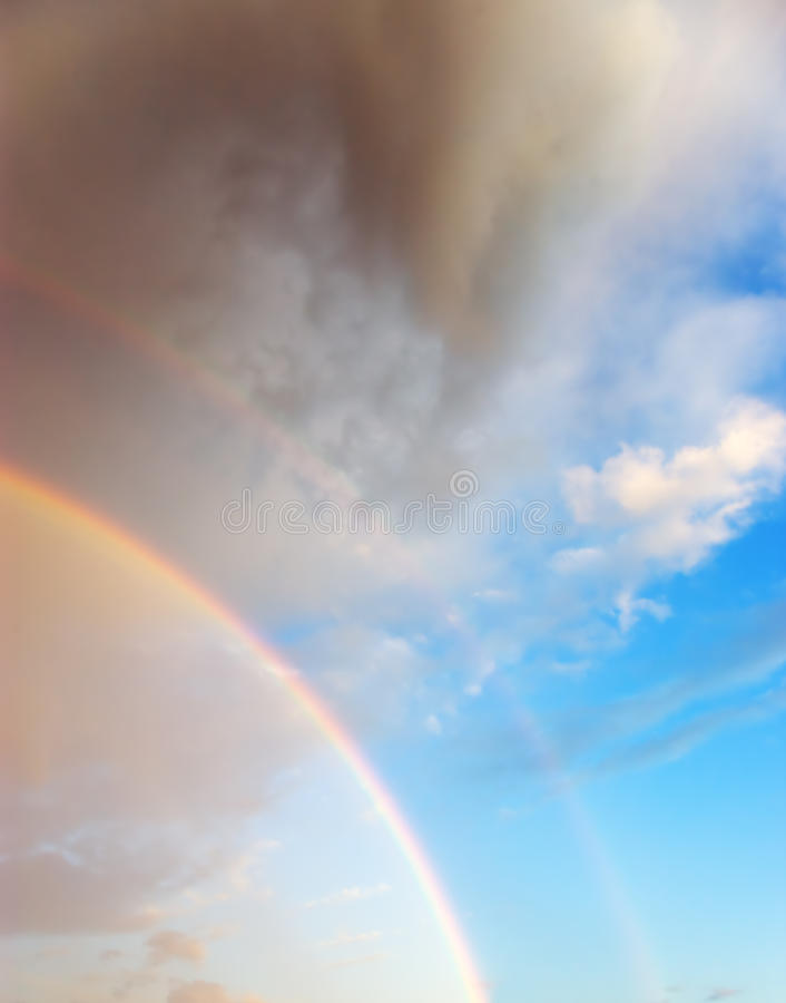 Download Beautiful Cloudscape With Rainbow Stock Image - Image: 10031765