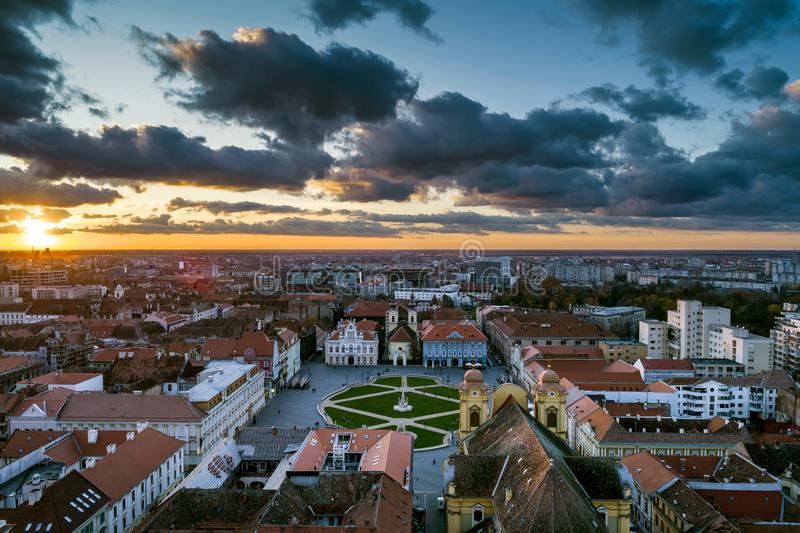 Beautiful cloudy sunset over Union Square - Piata Unirii Timisoara. royalty free stock photos