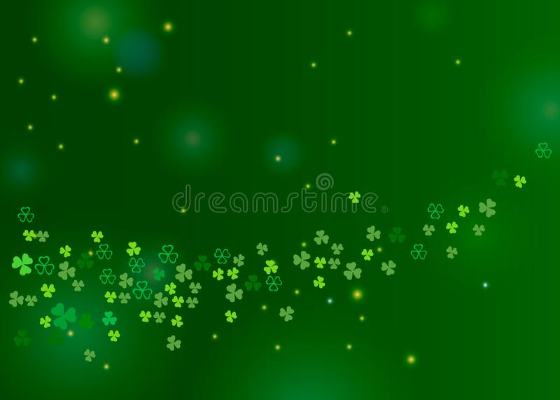 Beautiful clover shamrock leaves background for St. Patrick`s day design. Or greeting card. Vector horizontal illustration with clover and sparkles on green vector illustration