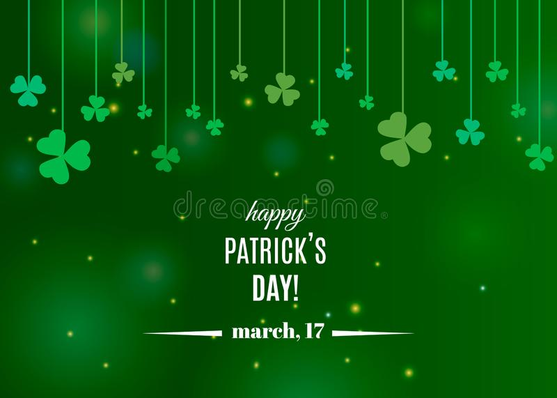 Beautiful clover shamrock leaves banner template for St. Patrick`s day design or greeting card vector illustration