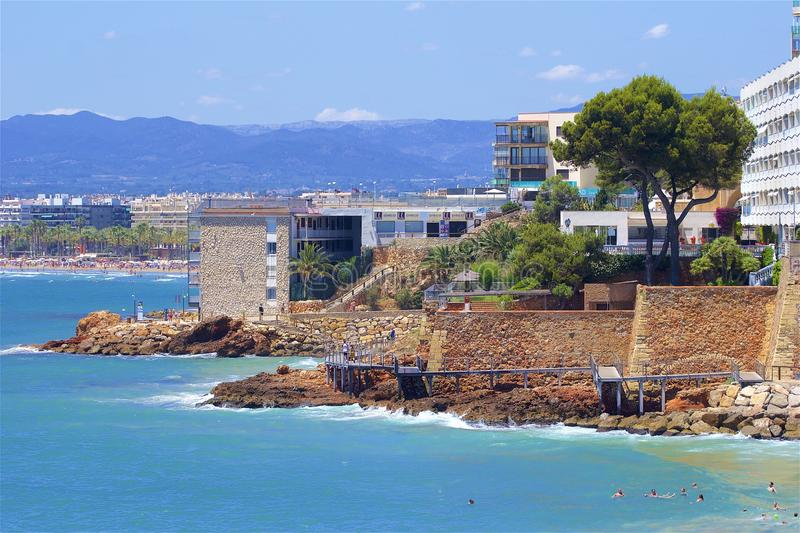 Coast and Beaches of Salou, Spain. Beautiful coastal line and beaches of Salou, Catalunya, Spain stock photo