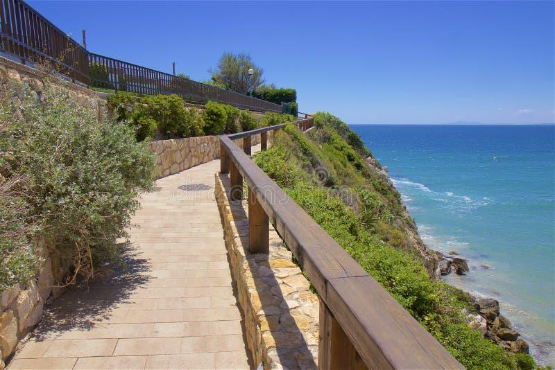 Coast and Beaches of Salou, Spain. Beautiful coastal line and beaches of Salou, Catalunya, Spain royalty free stock photography