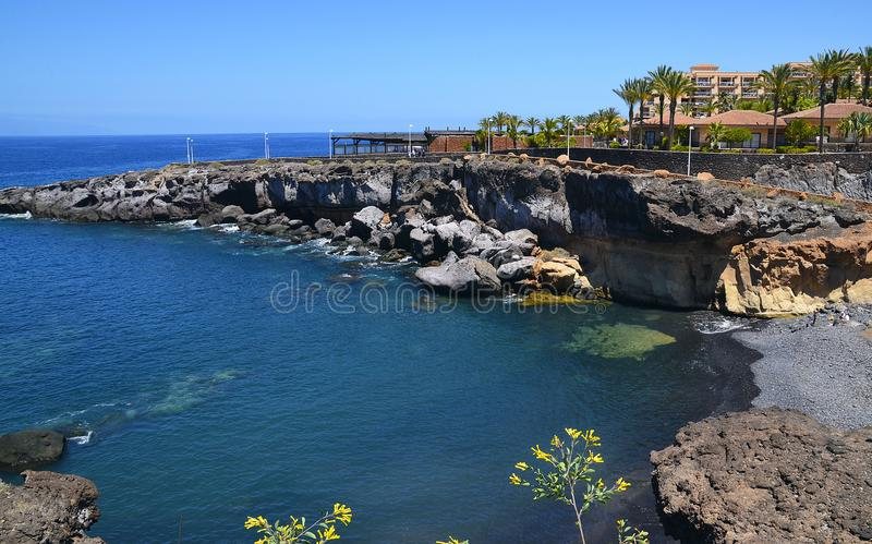 Beautiful coastal view of Playa Paraiso beach in Tenerife,Canary Islands,Spain. Travel or summer vacation concept royalty free stock image