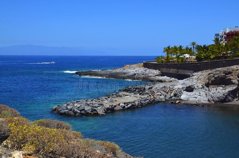 Beautiful coastal view of Playa Paraiso beach with turquoise ocean water on Tenerife,Canary Islands,Spain. Travel or summer vacation concept royalty free stock photos