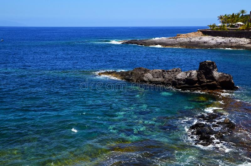 Beautiful coastal view of Playa Paraiso beach with turquoise ocean water on Tenerife,Canary Islands,Spain. Travel or summer vacation concept stock photo