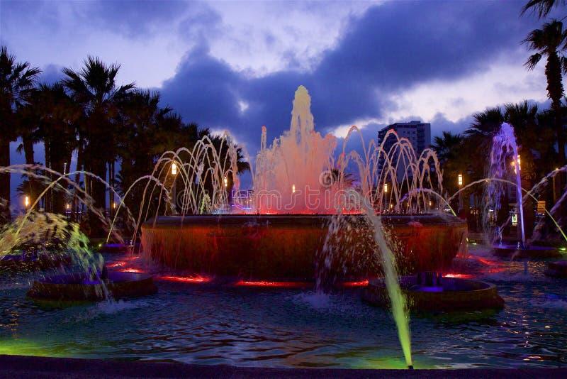 Night fountains in Salou, Spain. Beautiful coastal walk and promenade in Salou resort, Spain royalty free stock images