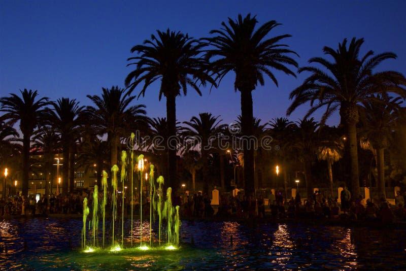 Night fountains in Salou, Spain. Beautiful coastal walk and promenade in Salou resort, Spain stock photos