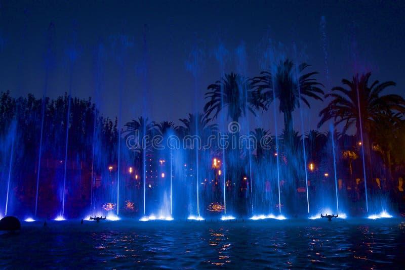 Night fountains in Salou, Spain. Beautiful coastal walk and promenade in Salou resort, Spain royalty free stock photo