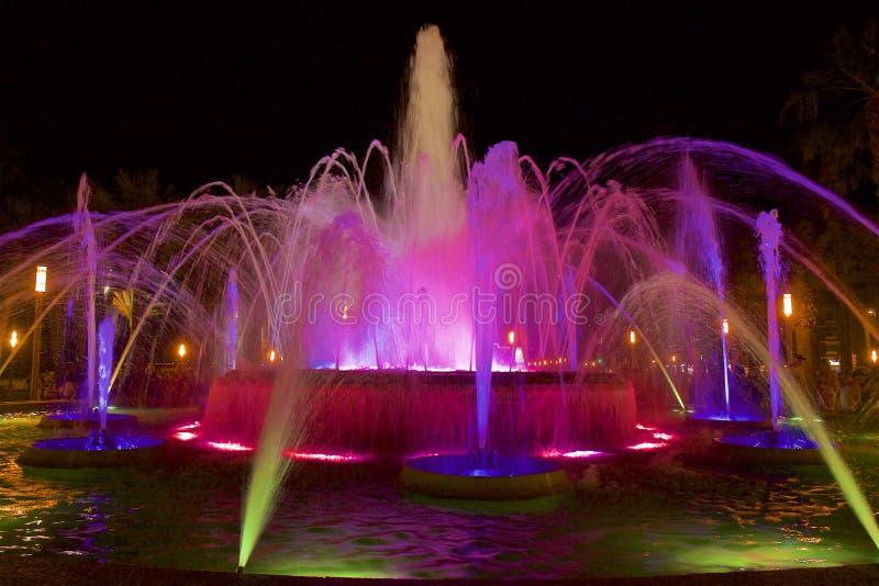 Night fountains in Salou, Spain. Beautiful coastal walk and promenade in Salou resort, Spain stock image
