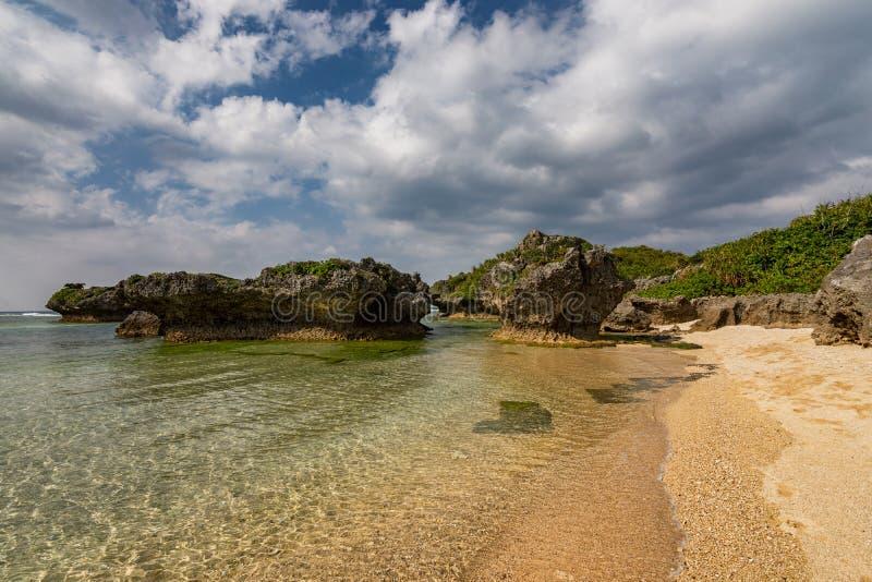 Beautiful coastline of Okinawa island in Japan. Beautiful coastline of Okinawa island, Ryukyu island chain in Japan stock image