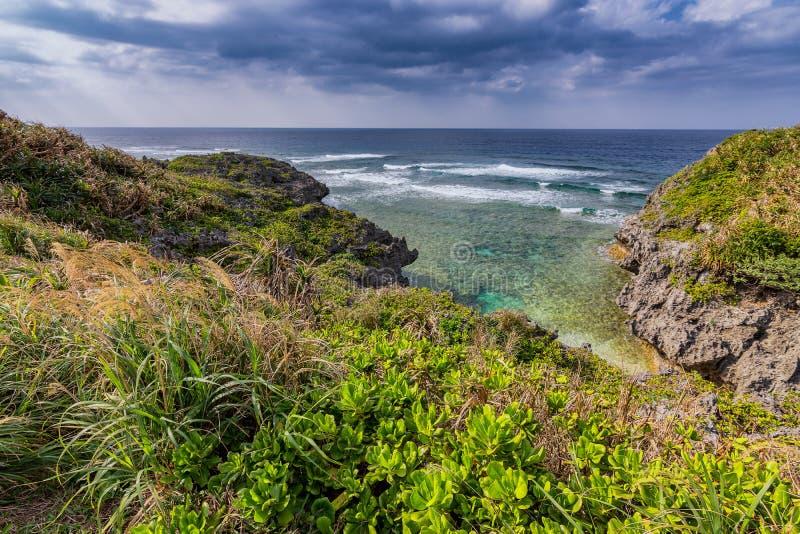 Beautiful coastline of Okinawa island in Japan. Beautiful coastline of Okinawa island, Ryukyu island chain in Japan stock photos