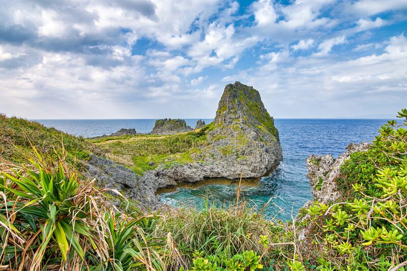Beautiful coastline of Okinawa island in Japan. Beautiful coastline of Okinawa island, Ryukyu island chain in Japan royalty free stock photo