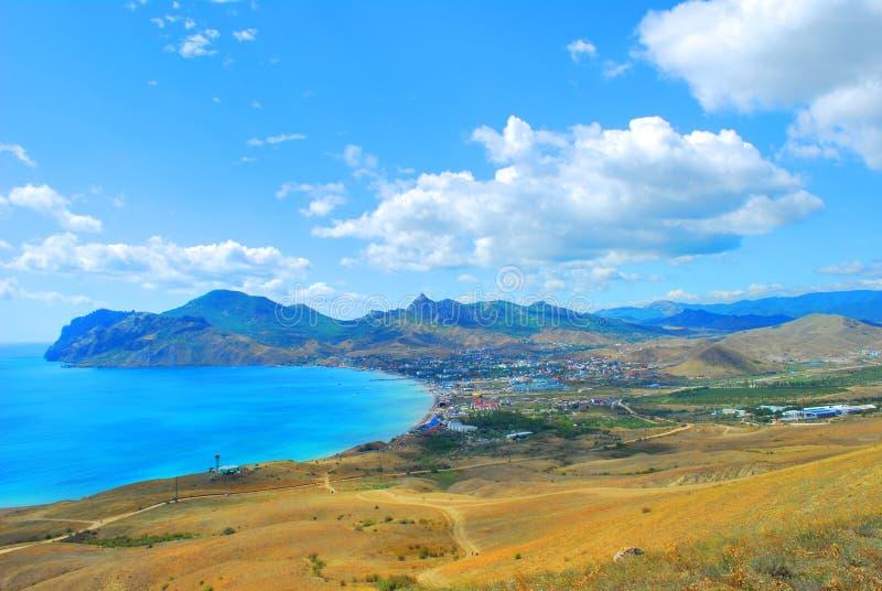 Beautiful coastline, view on Karadag, Koktebel,sea. Beautiful coastline, view on Karadag, Koktebel royalty free stock image