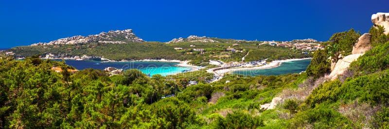 Beautiful coastline view to Spaggia Zia Culumba and Spaggia Rena Di Ponente and azure clear water, Capo Testa, Sardinia.  stock photography