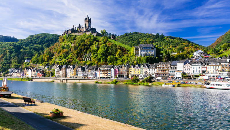 Beautiful Cochem town- Germany. Romantic Rhein river cruises. Panoramic view of Cochem town,Germany,Rhein river,Germany royalty free stock images